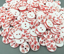 DIY 100x High Quality Fit Sewing Scrapbooking Flower Pattern Resin Buttons 13mm