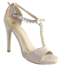 New Nude Beige High heel peep toe ankle T strap Pearls Open Sandal Shoes sz 7.5