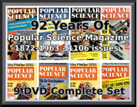 POPULAR SCIENCE MAGAZINE -1106 ISSUES 1872-1964 -92 YEARS - COMPLETE ON 8 DVD