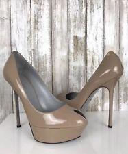 $975 Sergio Rossi CACHET Beige Nude Patent Leather Peep Toe Platform Pumps 40