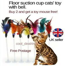 More details for cat pet toys feathers floor suction cup bell teaser buy 2 get 1 toy mouse free