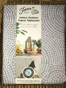 """Fiesta 70"""" Round Gray SPIRAL TILE Tablecloth Indoor Outdoor Water Repellent"""