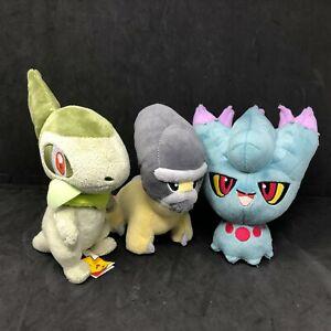 Pokemon Plush Lot Blue Misdreavus Green Axew Yellow Gray Shieldon Tomy Jakks