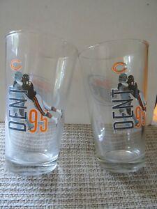 Two Miller Lite Richard Dent Pint 16 Ounce Beer Glasses Chicago Bears Libby New