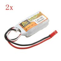 2PCS ZOP Power 7.4V 750mAh 2S 70C Lipo Battery JST Plug