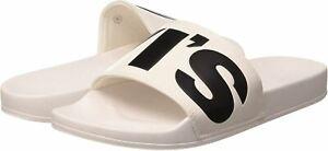 Levi's June L White Black Mens Sliders Flip Flops