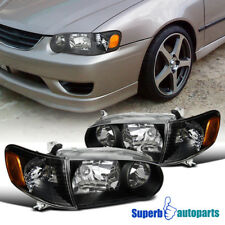 Fit 2001 2002 Toyota Corolla Black Crystal Style Headlights Corner Signal Lamps Fits