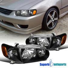 fit 2001-2002 Toyota Corolla Black Crystal Style Headlights+Corner Signal Lamps