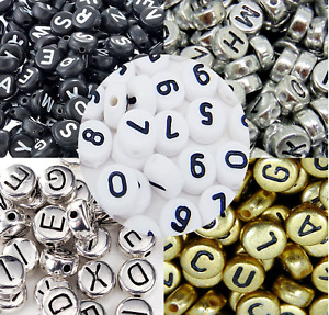 100pcs Acrylic Flat Round Letters Beads & Number for Arts Crafts Jewellery 6mm