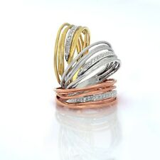 14k handmade yellow,rose & white gold wrapped wire wedding ring with diamonds