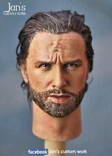1/6 Hot Custom Repaint Rehair toys Rick Grimes Walking Dead action figure head
