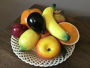 CERAMIC FRUIT IN LATTICE BOWL LARGE REALISTIC FRUIT WITH STUNNING DETAIL