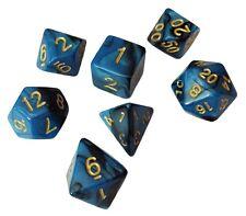 Blue and Black Marbled Swirl- Set of 7 Polyhedral Dice (7 Die in Pack)- RPG
