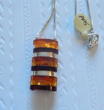 Sterling Silver Amber Pendant & Necklace genuine amber & silver -stacked ovals
