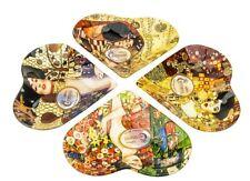 Carmani Four Decorative Glass Plates with Artworks by Gustav Klimt 4-Piece Set