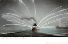 NEW YORK CITY~FIRE BOAT IN ACTION POSTCARD 1900s