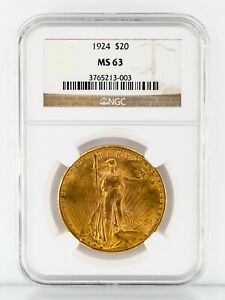 1924 $20 Gold St. Gaudens Double Eagle Graded by NGC as MS-63