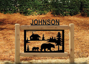 PERSONALIZED BEAR AND LOG CABIN SIGN