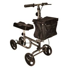 Knee walker with brakes and height adjustable handle and knee pad