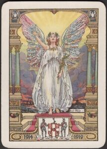 Playing Cards Single Card Old Antique Wide  1919 WORSHIPFUL Co. ANGEL of PEACE A