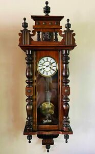 Antique Victorian Vienna Wall Clock with Chiming 8 Day Movement Germany c1890
