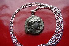 """Ancient Cleopatra Replica Token Pendant on a 30"""" 925 Sterling Silver Link Chain"""