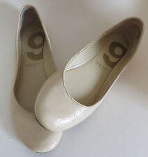 Womens Size 8M Nine 9 West Slip On Ballet Flats Tan Patent Leather