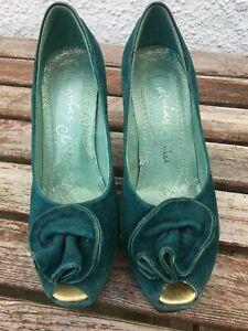 "Stunning Irregular Choice Green Suede 5"" Heel Shoes Gold Trim Size 5  38"