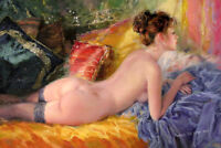 Art Print Beautiful Nude Lady in Bed Oil Painting Printed on Canvas P1008