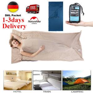 Schlafsäcke aus 100% Baumwolle Hüttenschlafsack Inlett Inlay Reise 210CM DE NEW