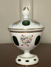 Vintage Bohemian Czech White Cut-To-Emerald Green Glass Floral Lidded Candy Jar