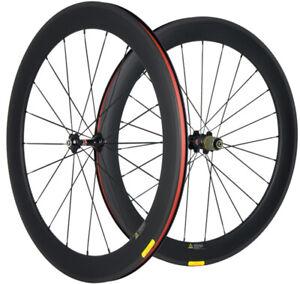 Carbon Wheels 700C 60mm Full Carbon Wheelset 23mm Width Clincher Novatec 271 Hub