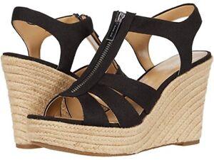 New Michael Kors Berkley Weave Canvas Espadrille Wedge Sandals Black Size 7