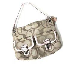 Coach Poppy Metallic sateen hobo purse 18980 Signature Logo Satin Line Bag Women