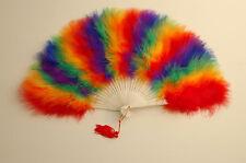 "MARABOU FEATHER FAN - RAINBOW Feathers 12"" x 20"" Burlesque/Wedding/Bridal"