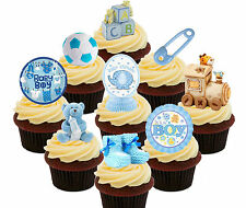 Baby Shower Boy - 36 Edible Cup Cake Toppers, Standup Fairy Bun Decorations Blue