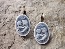 MOTHER AND CHILD CAMEO BRONZE FRENCH EARRINGS - WONDERFUL QUALITY - MOTHER'S DAY