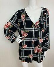 Women's 3X Black White Garden Rose Floral V Neck Peasant Top Blouse Shirt Boho