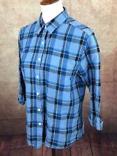 Talbots Irish Linen Blend 3/4 Cuffed Sleeve Blue Plaid Shirt Women's M