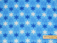 Blue Snowflake Winter Christmas Fleece Fabric  by the Yard  BTY