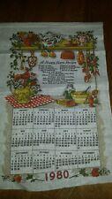 Vtg 1980 Linen Fabric Tea Towel Wall Calendar Happy Home Recipe