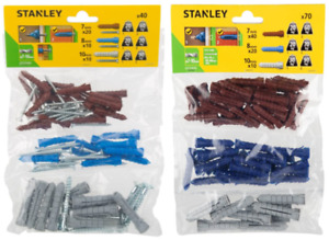Stanley WALL RAW PLUGS Set 7 / 8 / 10mm MULTI-PACK Solid / Hollow Walls + Screws
