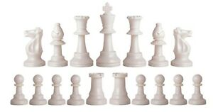 Staunton Triple Weight Chess Pieces Half Set (17 Pieces) - Two Queens - White