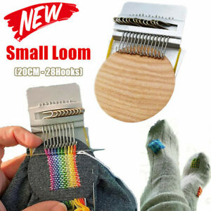 (28 Hooks) Small Loom-Speedweve Type Weave Tool, Darning Machine with Wood Disc
