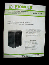 Vintage PIONEER CS 53 Speaker Speakers Owners Manual Spec Install Sheet 2nd Copy