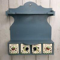 Vintage Roosters & Roses Spice Rack Wood 4 Ceramic Drawers Shelf Hanging Utensil