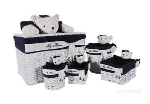 Nautical Teddy Bear Wicker Willow Storage Baskets Set of 5 Coastal Beach Decor