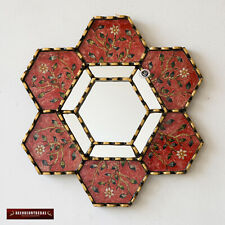 """Hexagonal Red Wall Mirror 11.8"""" from Peru, Decorative Accent Small Mirrors wall"""