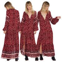 Women's Boho Ethnic Maxi Dress Puff Sleeve Evening Party Hippie Sundress Kaftan