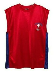 Philadelphia Phillies Mens XL T-Shirt Muscle Tank Top Sleeveless Red Embroidered